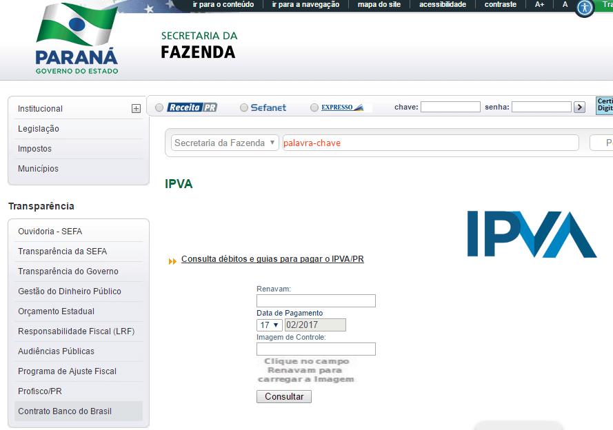 Emissão do boleto IPVA 2020 Paraná